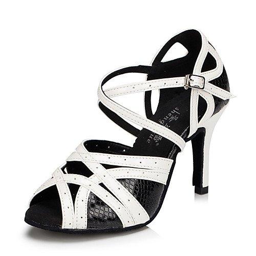 TT-Q Frauen Tanzschuhe Leder Modern Sneakers Chunky Heel Schwarz Weiszlig; Latin Sandalen Salsa Jazz Tango Swing Praxis Indoor-Performance  40|Schwarz-Weiss