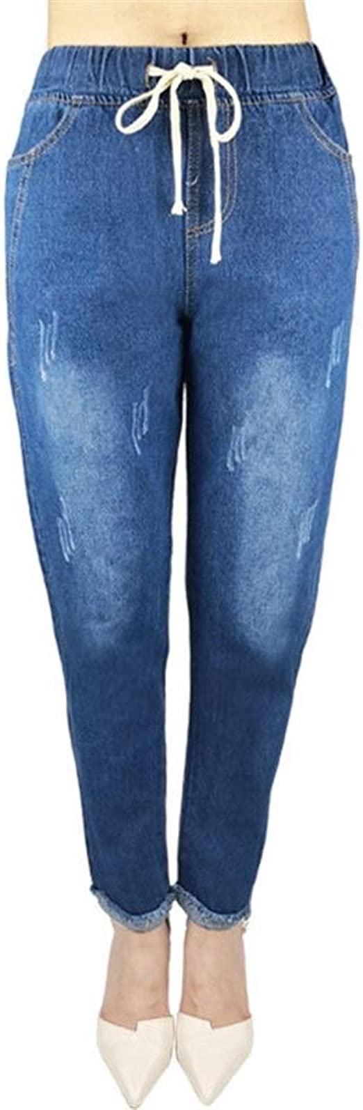 女性の ド蝶コーテ Dongkuan弾性ウエストだぶだぶのジーンズはデニムパンツ脂肪をハーレム いシェイプ
