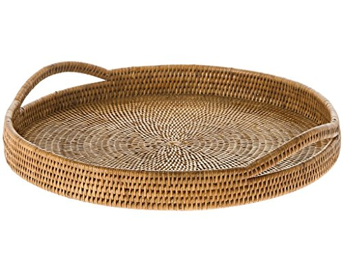 KOUBOO La Jolla Rattan Round Serving Tray, Honey Brown (Round Wicker Large Tray)