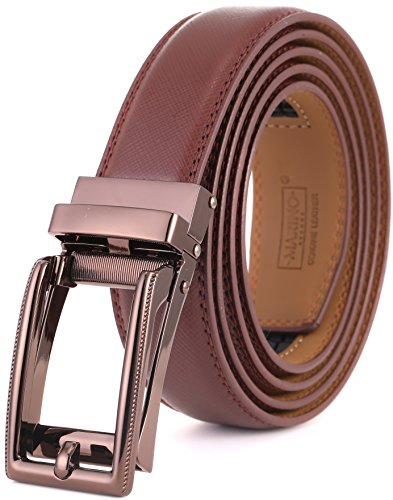 (Marino Men's Genuine Leather Ratchet Dress Belt with Open Linxx Buckle, Enclosed in an Elegant Gift Box - Gunblack Silver Square Open Buckle W/Brown Leather - Custom XL: Up to 54