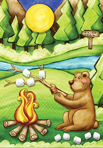 (Toland Home Garden Camping Bear 12.5 x 18 Inch Decorative Colorful Funny Outdoors Campfire Smores Garden Flag)