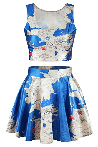 Pink Queen Women Blue Middle East Map Print Crop Tank Top Skater Skirt Set - East Halloween Costume Ideas