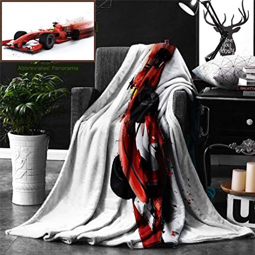 Unique Custom Digital Print Flannel Blankets Cars Decor Generic Formula 1 Racing Car Illustration with Special Pace Effect Turb Super Soft Blanketry for Bed Couch, Throw Blanket 60 x 50 Inches