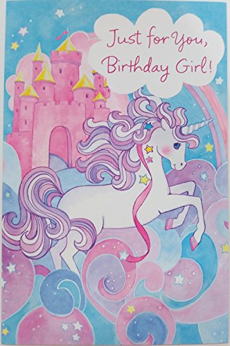 """Just for You Birthday Girl - Magical Unicorn Greeting Card - """"Don't Miss One Bit of Fun"""""""