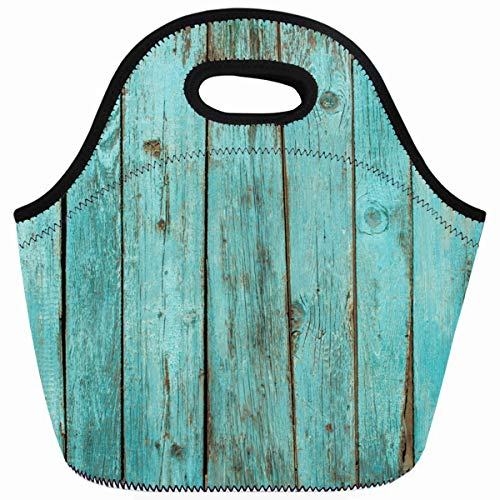 Ahawoso Reusable Insulated Lunch Tote Bag Turquoise Wood Teal Barn Weathered Beach Zippered 10X11 Neoprene School Picnic Gourmet Lunchbox