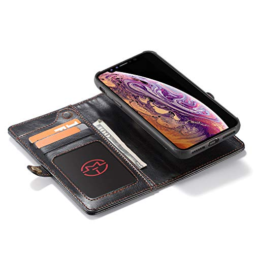 iPhone Xs Max Case,iPhone Xs Max Wallet Case,MISSCASE Premium Leather Wallet Case with Magnetic Detachable SlimCase [Fit Car Mount] for iPhone Xs Max,6 Card Slots,Pocket,Lanyard Black