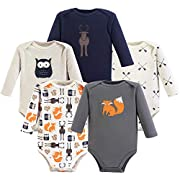 Hudson Baby Long Sleeve Bodysuits, 5 Pack, Forest, 12-18 Months