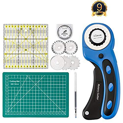 45mm Rotary Cutter with Rotary Cutter Blades 45mm(5pcs Replacements), Self-Healing Cutting Mat 22cm x 15cm, Acrylic Quilting Ruler 15cm x 15cm for Cutting Fabric, Paper, Leather Tofree