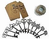 Kinteshun Skeleton Key Bottle Opener with Escort Tag and Jute Rope for Wedding Party Favor(50sets,Gun Black Tone)