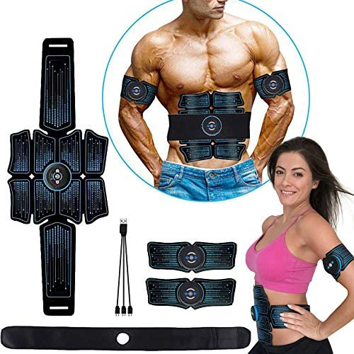 eAnjoy EMS Pads, ABS Stimulator Muscle Toner, Abdominal Toning Belt Muscle Trainer, Portable Fitness Trainer for Abdomen, Arm and Leg, with 6 Modes 8 Levels, USB Charging (8-Pack) 1