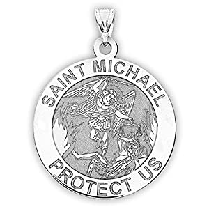 PicturesOnGold.com St Michael Pendant Saint Michael Pendant Religious Medal Necklace 1 Inch Size of a Quarter in Sterling Silver Includes 18 inch Cable Chain. (Necklace Only)