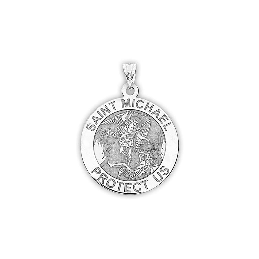PicturesOnGold.com St Michael Pendant Saint Michael Pendant Religious Medal Necklace 1 Inch Size of a Quarter in Sterling Silver Includes 18 inch Cable Chain.