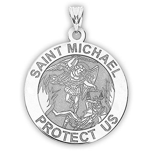 Saint Michael Religious Medal Protection Pendant Necklace 1 Inch Size of a Quarter in Sterling Silver