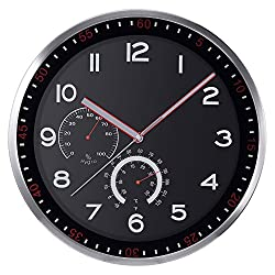 KI Store Silent Wall Clocks with Temperature and Humidity Non Ticking Large Decorative Glass Cover Black Clock for Living Room Bedroom Kitchen Office (14, Aluminium)