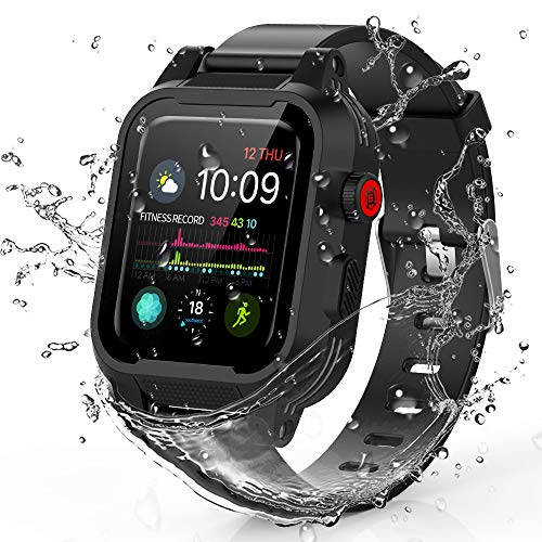 Waterproof Apple Watch Case 42mm Series 3 & 2, IP68 Waterproof Shockproof Impact Resistant Rugged Protective Case with Silicone Strap Bands for Apple Watch 42mm Series 2 Series 3 (Black) Dial Black Silicon Band