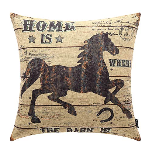 TRENDIN Throw Pillow Cover Weathered Wood Rustic Horse Decorative Pillow Case Home Decor Square 18 x 18 Inch PL238TR (Horse Room Decor Pillows)