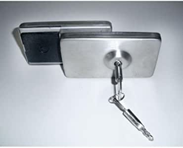 Trava Forte Para Porta De Vidro Abrir Segurança Inox Chave