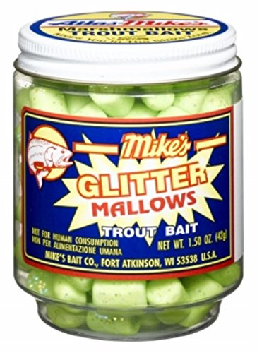 Atlas Mike's Mallow Trout Bait, Chartreuse Green/Garlic Glitter -