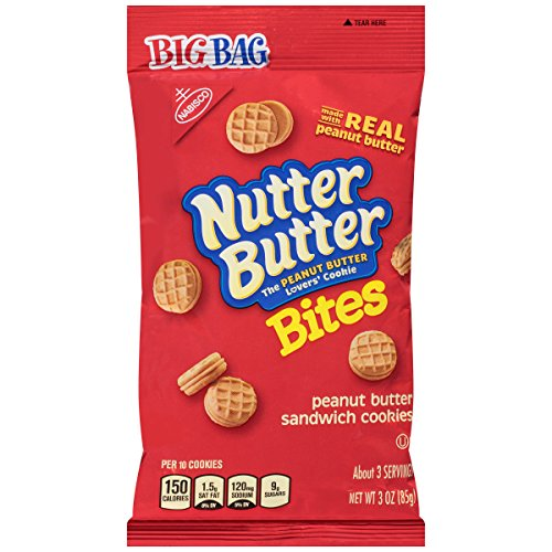Nutter Butter Bites Peanut Butter Sandwich Cookies - Big Bag, 3 Ounce (Pack of 12)