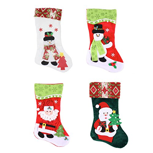 "Joiedomi Pack of 4 18"" 3D Plush Christmas Stockings for Christmas Decorations"