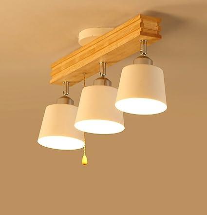 Araña colgante Lámpara de techo de madera maciza Luz de ...