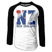Men's New Zealand New Flag NZ Fern Leaf Long Sleeve Raglan T-Shirt