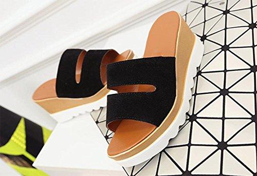 Slope mit mattem Lederschuhe mit runden Kopf Fischkopf in Sandalen und Pantoffeln Black