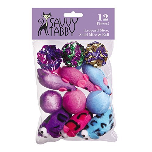 - Savvy Tabby Leo Mice, Solid Mice, and Balls Cat Toys, 12-Packs by Savvy Tabby
