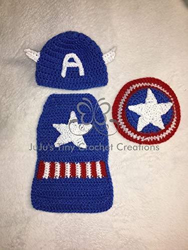 American Superhero Baby Newborn Outfit Photo Prop - Halloween Costume - Baby Shower Gift - Photo Prop - Baby Boy Costume - Halloween Costume - Baby Halloween Costume