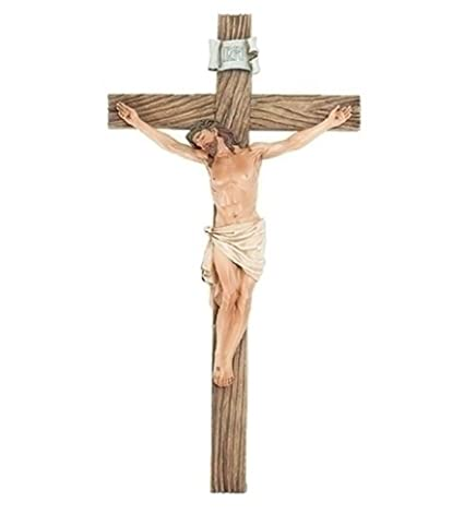 amazon com jesus nailed on the cross 14 inch resin stone wall cross
