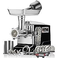 Picadora de carne eléctrica - Tamaño # 12 - Modelo STX-4000-TB2-PD - STX International Turboforce II - Patente de enfriamiento por aire - Control de pedal, 6 placas de molienda, 3 cuchillas de corte, Kubbe y tubos de salchicha - Negro
