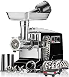 5 meat grinder - Electric Meat Grinder - Size #12 - Model STX-4000-TB2-PD - STX International Turboforce II - Air Cooling Patent - Foot Pedal Control, 6 Grinding Plates, 3 Cutting Blades, Kubbe & Sausage Tubes - Black