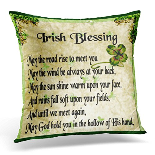TORASS Throw Pillow Cover Irish Blessing Double Decorative Pillow Case Home Decor Square 18x18 Inches Pillowcase