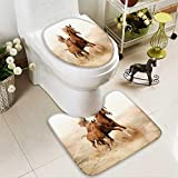 U-shaped Toilet Mat-Soft purebred white arabian horse in desert 2 Piece Toilet Toilet mat