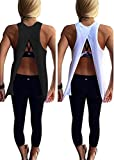 Mazonyi Women's Sexy Backless Yoga Tops Work Out Cloth Stretchy Racerback Tank Top Casual Sleeveless Running Gym Active Shirts for Sport XL Pack of 2