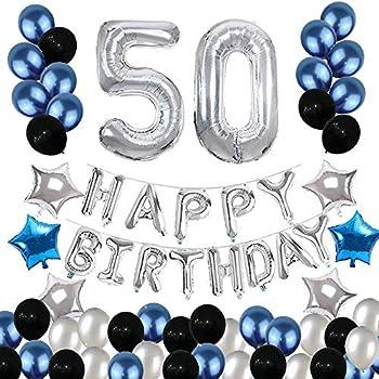 Amazon.com: Decoración de 50 cumpleaños, 50 globos de ...