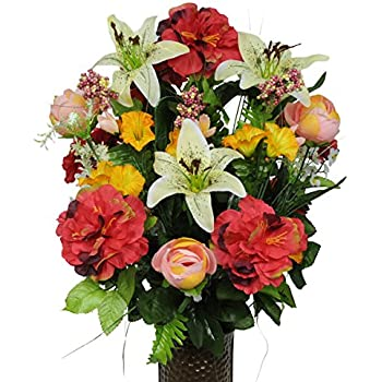 Amazon miles kimball memorial silk flowers home kitchen pink red and yellow silk flower bouquet with stay in the vase design flower holdersm1261 mightylinksfo Choice Image