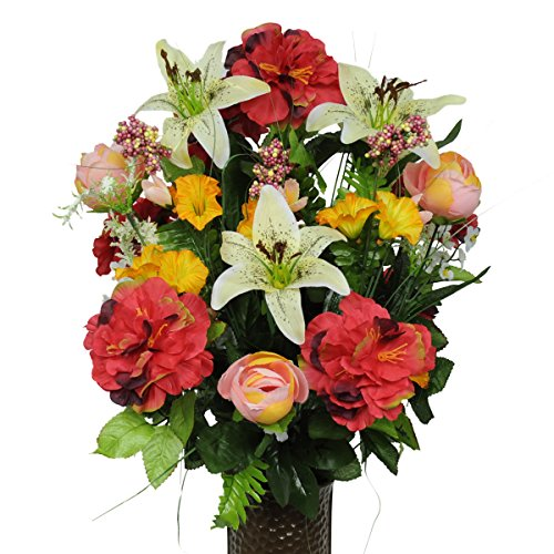 Pink Red and Yellow Silk Flower Bouquet with Stay-In-The-Vase® Design Flower Holder(SM1261)