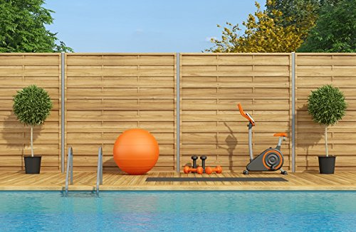 Laeacco Swimming Pool With Gym Equipment Photography Background 10x6.5ft Wooden Wall Gym Blue Pool Water Ball Bike Pilates Bicycle Fitness Water Sky Sport Exercise Summer Blue Hardwood