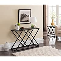 Grey Finish / Black Frame Double X Sides Sofa Console Table