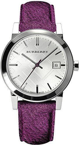 Burberry Round Metallic Leather Strap Watch, 34mm Ladies BU9122