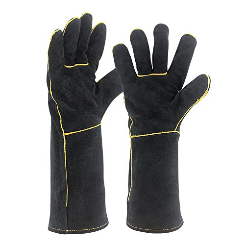 Welding Gloves HEAT RESISTANT Cow Split Leather BBQ/Camping/Cooking Gloves Baking Grill Gloves Welder Fireplace Stove Pot Holder WorkPlace Glove
