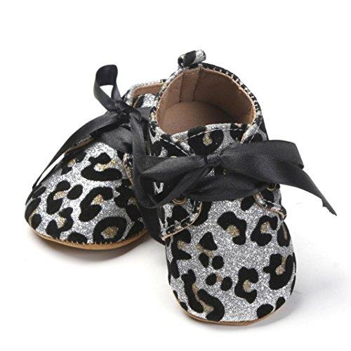 Igemy 1 Paar Neugeborene Baby Mädchen Jungen Sequins Schuhe Leopard Up Slip Lace Sneaker Weiß
