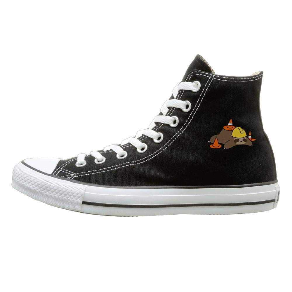 Shenigon Road Worker Sloth Canvas Shoes High Top Casual Black Sneakers Unisex Style