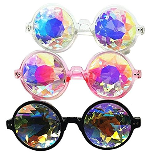 Amazon Prime Deals,Black/Pink/White Black Kaleidoscope Glasses- Rainbow Rave Prism Diffraction