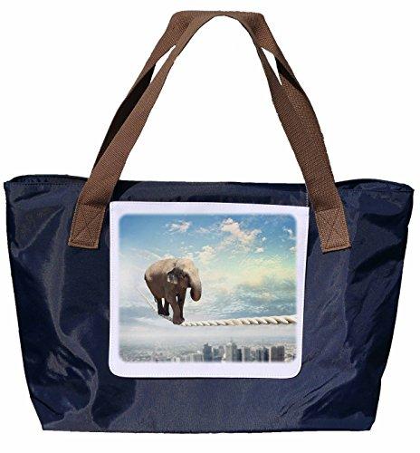 Nylon Tragetasche dem Einkaufstasche Umhängetasche Größe 43x33cm in Shopper Motiv Hochseil auf aus Schultertasche 05 Navyblau Elefant X4SwnqF