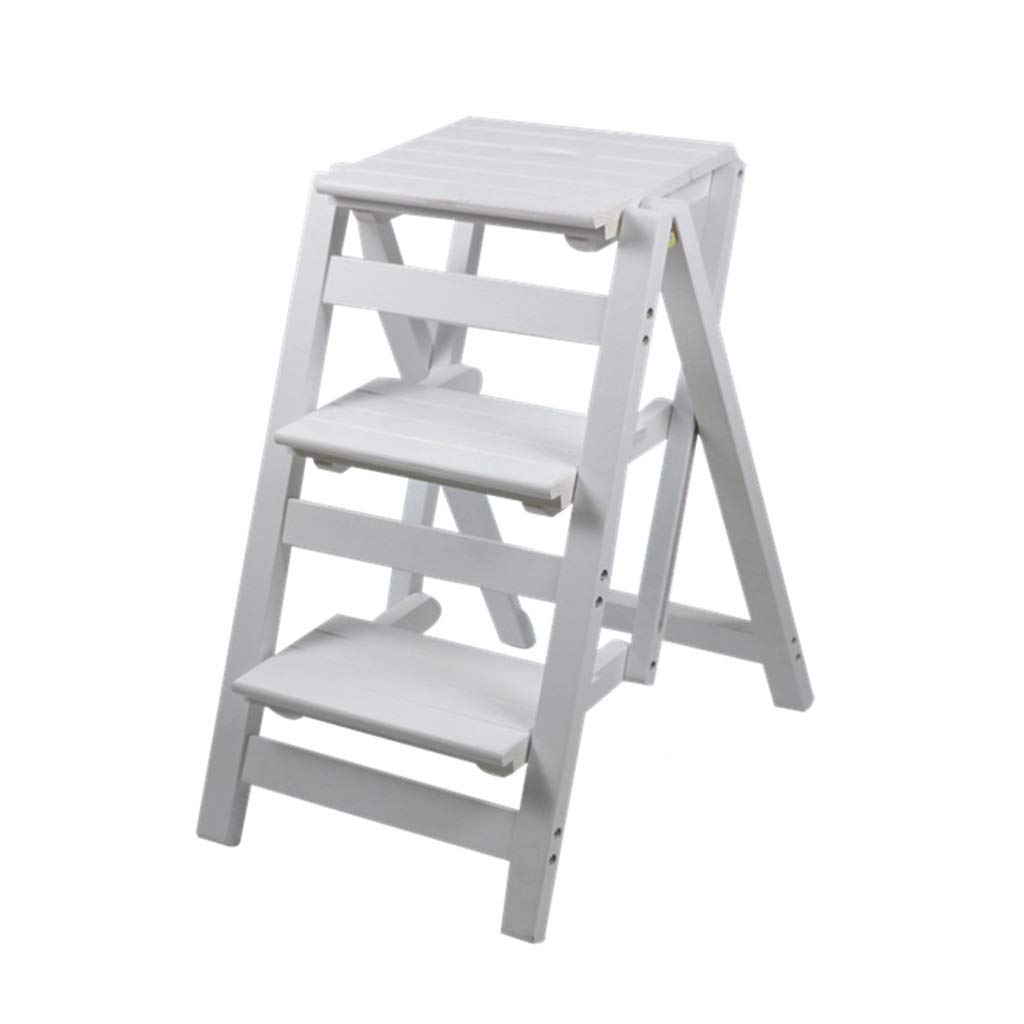 White 425666cm Stepstools Step Stool Ladder Full Wooden Step Stool Adult Folding Stool Home Kitchen Climbing Stool Multi-Function Folding Stool Simple Portable Ladder (color   Brown, Size   42  56  66cm)