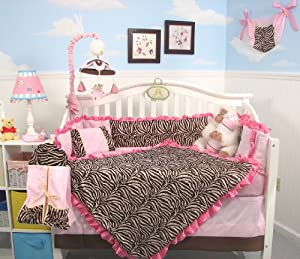Soho Pink Zebra Chenille Crib Nursery Bedding 10 Pcs Set from SoHo Designs