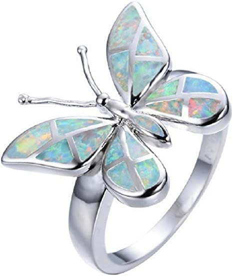 GORGEOUS BLUE FIRE OPAL 925 STERLING SILVER RING SIZE 6