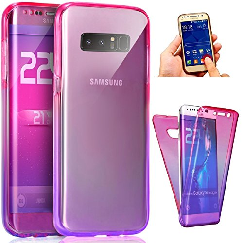 Samsung Galaxy Note 8 Case, AMASELL [Full-Body 360 Coverage protective] Scratch-Resistant Crystal Soft TPU Silicone Rubber Cover for Galaxy Note 8,Pink Purple Gradation